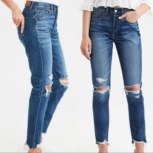 AEO Hi Rise Girlfriend Destroyed Jeans 12